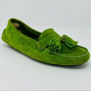 J. CREW Moss Green Suede Driving Loafer w/ Tassels
